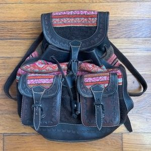 Vintage leather Mexican print backpack